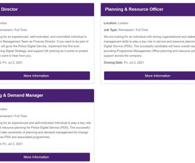 Screen shot of Website with basic details of roles available